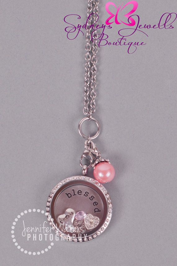 Customized Floating Locket on Chain Necklace- Includes ONE Stamped Plate, ONE Dangle and FIVE charms of your choice