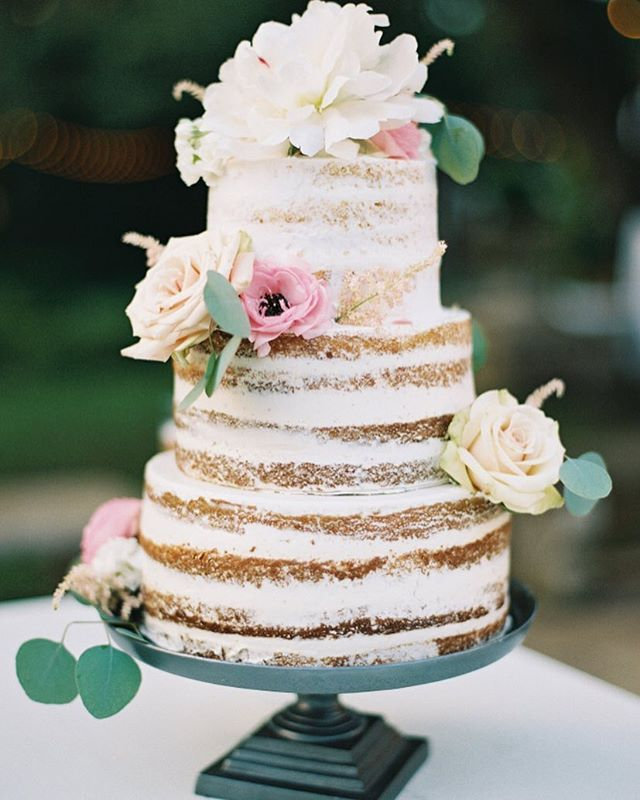 This naked #cake will def be in our dreams tonight! #weddingcake | Photography: @brettheidebrecht | Cake: @womcatering | Event Planning: @36thstreetevents | Venue: @contemporaryatx | Party Rentals: @marqueeatx | Floral Design: @bouquetsofaustin