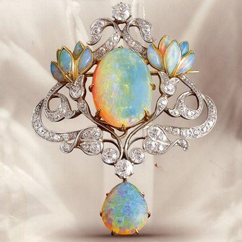 1850's Diamond and Opal Broach
