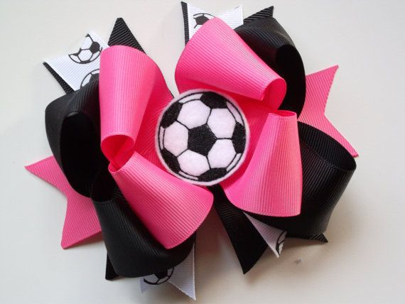 Hey, I found this really awesome Etsy listing at https://www.etsy.com/ca/listing/187800921/hot-pink-soccer-bow-black-and-pink