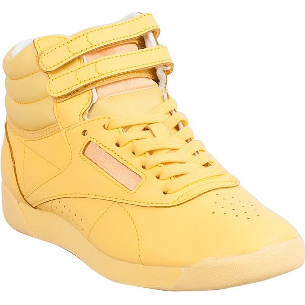 Reebok Freestyle Hi Color Bomb Women's High-Top Sneaker ($75) ❤ liked on Polyvore featuring shoes, sneakers, yellow, high top trainers, hi tops, ankle strap shoes, yellow high top sneakers and yellow high tops