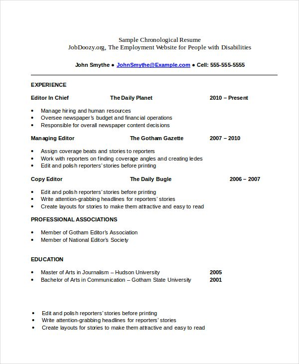 Chronological Resume Templates Chronological resume template