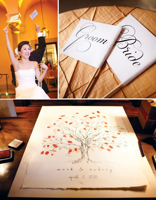 "The tree sign book was an interesting way to incorporate the guest into a lifelong souvenir. Each guests ""leaf"" a thumb print and writes their name on their respective print. Its an interactive, fun, and sentimental keepsake suitable for framing."