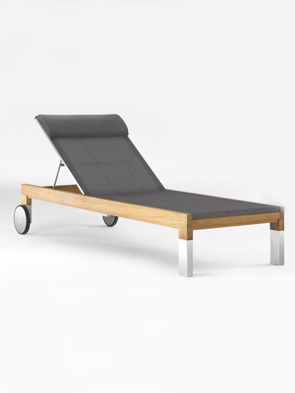 Taji Lounger - Textilene by Kenkoon on Guruwan.com | Made from high-quality materialTeakwood and 304 stainless steel with textilene mesh fabric