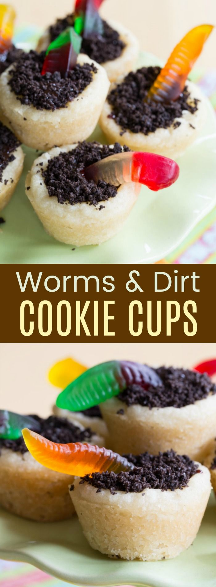 Worms and Dirt Cookie Cups - a kid-friendly sugar cookie cup recipe with only five ingredients. Filled with chocolate ganache, Oreo dirt, and gummy worms. A perfect dessert to celebrate Halloween, springtime, or just for fun.