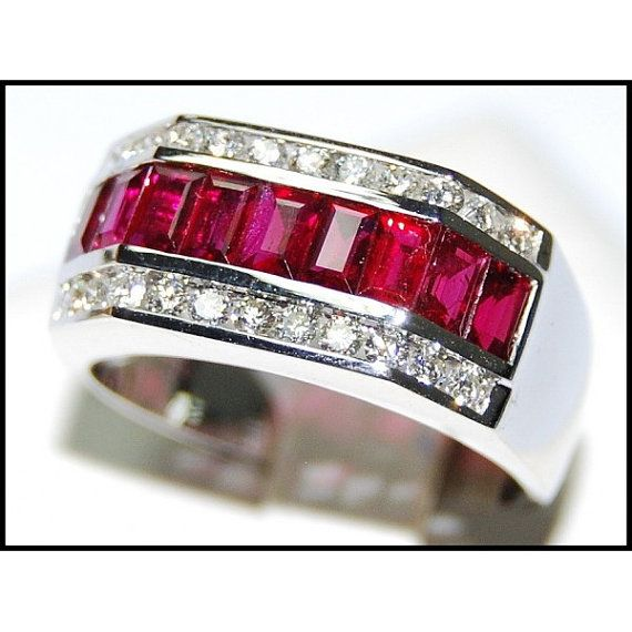 Eternity For Men Ruby Ring Diamond 18K White Gold by BKGjewels