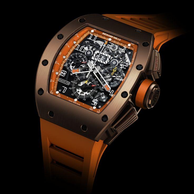 ? man's fashion accessories luxury watch Richard Mille RM011 brown