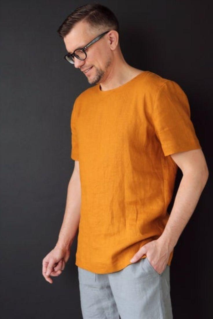 Mens Linen T Shirt Basic T Shirt Shirt For Men Stylish T Shirt Etsy In 2020 Linen Tshirts Mens Linen Outfits Stylish Tshirts