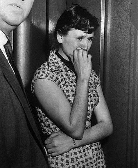 """Ruth Beichler,17 & 4 other teenagers murdered Detention Home Matron, who was bound & gagged w/ an ammonia soaked rag. Ruth, said she was sorry but added, """"We wouldn't have got caught if we'd moved fast.""""  -1955"""