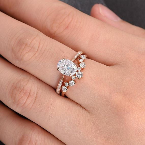 Moissanite Engagement Ring Oval Cut Rose Gold Engagement Ring #engagementrings #…