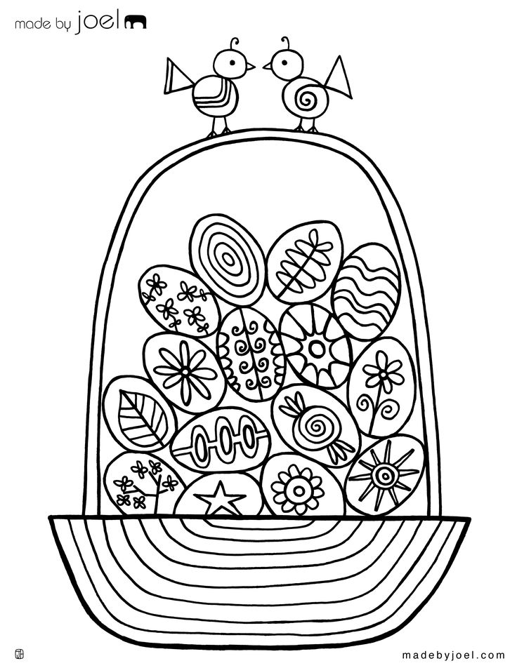 Easter Egg Basket Coloring Sheet - Made by Joel