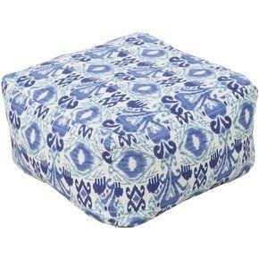 Surya Square Southwestern Blue Pouf Ottoman