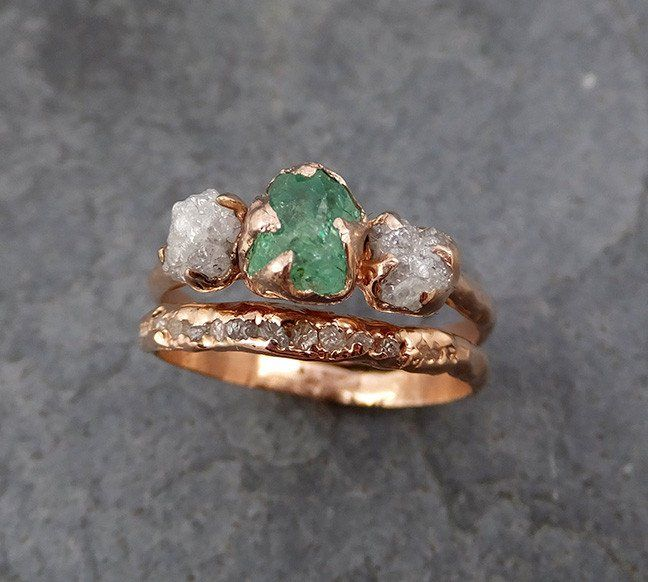 Raw Rough Emerald Conflict Free Diamonds Rose Gold Ring One Of a Kind Gemstone…