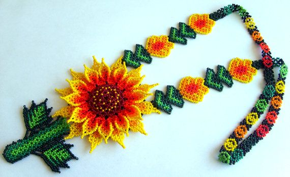 Mexican Huichol Beaded Flower Necklace by Aramara on Etsy, $49.50