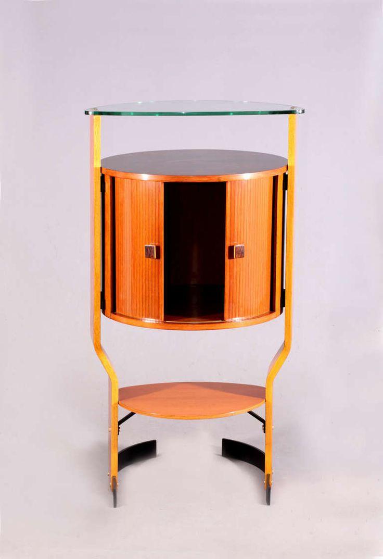 Round Italian Freestanding Rosewood Bar Cabinet, 1950