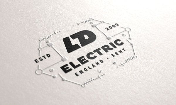 LD electric's killer logo with its negative space flash symbol laid out inside a circuit board. Nice.