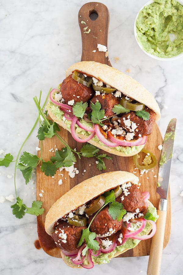 Mexican Turkey Meatball Sandwich with Avocado Mash || FoodieCrush.Com