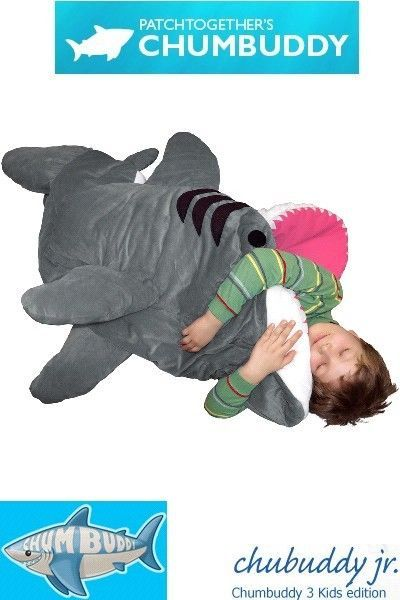 Patch Together Chumbuddy 3 Jr Great White Shark Kids Sleeping Bag New