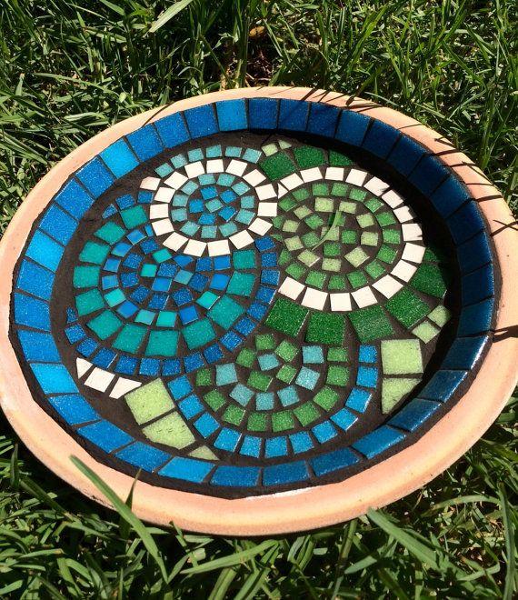 Birdbath | Bird bath | Blues and greens glass mosaic bird bath