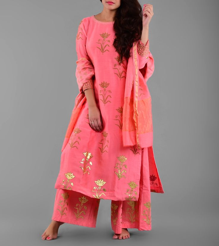 Purple Panchi by Malvika Gupta Pink Chanderi Printed Salwar Kameez With Dupatta