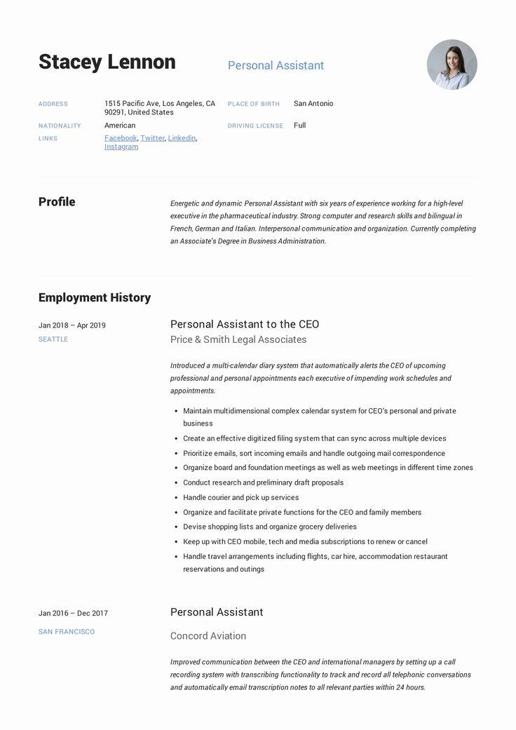 Personal assistant Job Description Resume Fresh Personal