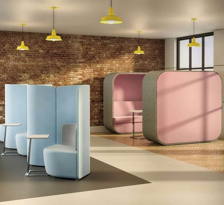 Creating alcoves within an open floor plan office environment; Boss Design Group's Soft Office; sound absorption