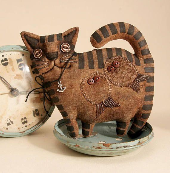 Примитивный толстый полосатый Кот любитель подарок народного искусства тряпичная кукла