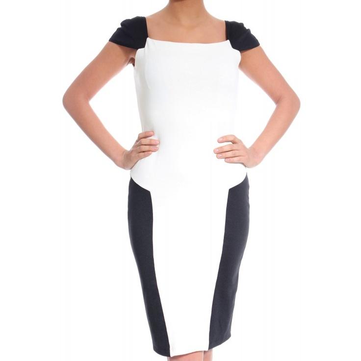 Rochie office alb negru pana la genunchi