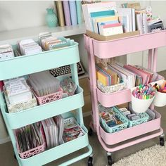 """These are perfect for my mint classroom theme! Would also work well for centers, pull-out, or enrichment. The RASKOG carts from IKEA. Spray paint them AFTER they are assembled. Use the rustoleum paint in """"ocean mist"""" for the mint and plastikote paint in """"cameo pink"""" for the pink cart. Also spray paint some plastic containers to match using a plastic primer beforehand."""