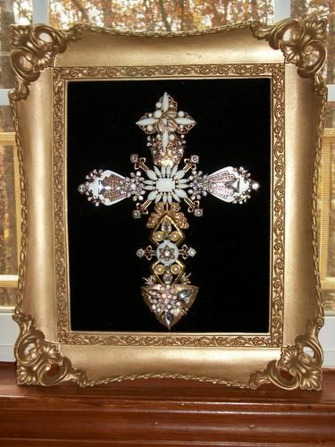 Vintage Milk Glass Rhinestone Jewelry Christmas Tree Framed Cross Art