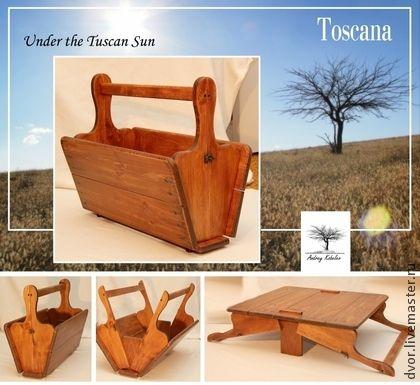 Столик-короб `Под солнцем Тосканы`. Представляю вам моё собственное авторское изобретение, аналогов которому нет ни на Ярмарке, ни на других, в т.ч. заграничных площадках: трансформер, короб-столик для пикника 'Скатерть-самобранка'.