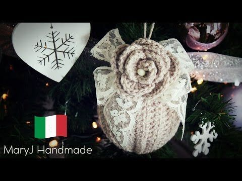 Christmas ball with crochet flowers - YouTube