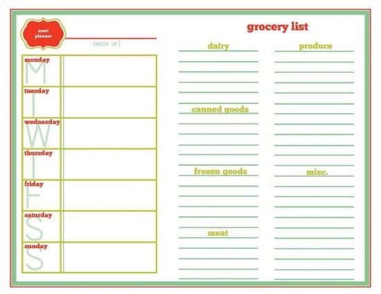 17 Best ideas about Meal Planning Templates on Pinterest | Meal ...