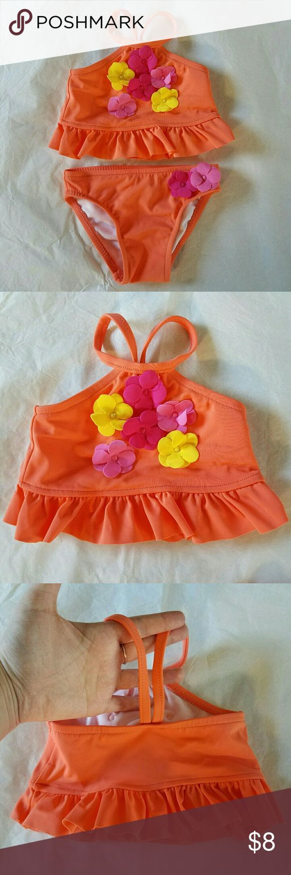 NWOT Baby Girl 2 Piece Bikini Swimsuit 0-3 Months Wave Zone orange two piece bikini bathing suit/swimsuit with flower appliques.  Washed once but never worn!  New without tags!  Size 0-3 Months (approximately 8 to 12 lbs).  Cheaper if bundled. Wave Zone Swim Bikinis