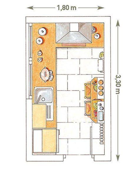 Plano de cocina en forma de L con barra