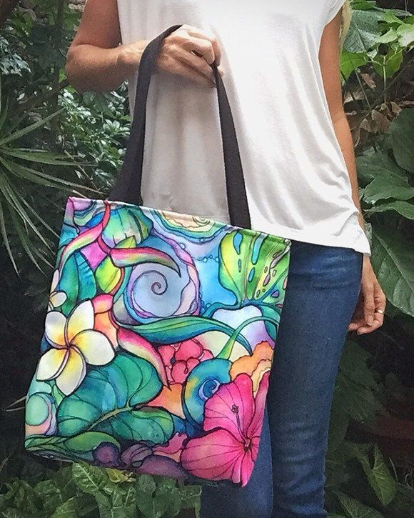 """""""Paradise"""" tote bag by Colleen Wilcox Bags are an option for hand painted project final"""
