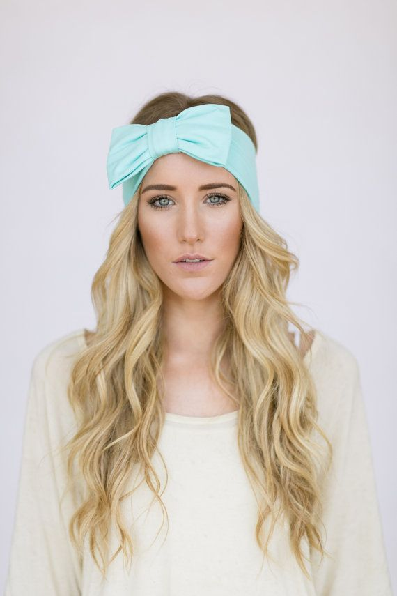 Bow Headband Oversized Mint Bow Women's Hair Band by ThreeBirdNest, $24.99