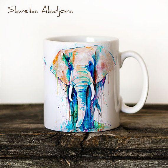 Elephant Mug Watercolor Ceramic Mug Elephant Unique Gift Coffee Mug Animal Mug Tea Cup Art Illustration Cool Kitchen Art Printed mug  ABOUT MY MUGS