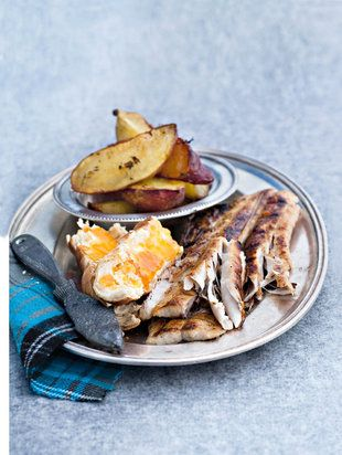 """Barbecued """"snoek"""" with sweet potatoes baked in the oven - delicious!"""