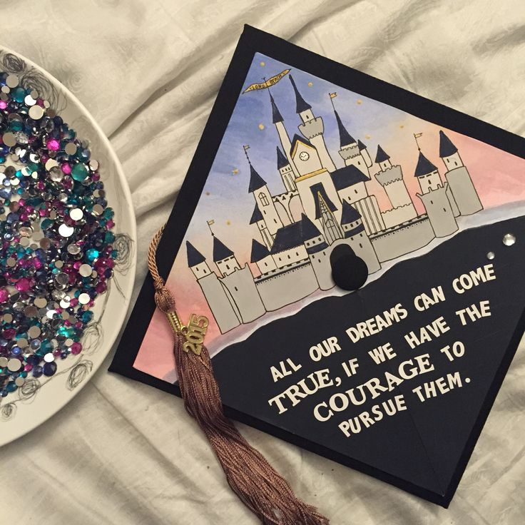 """DIY Disney inspired decorated graduation cap. Go Beach!  """"All our dreams can come true, if we have the courage to pursue them."""" -Walt Disney"""