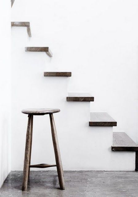 simple white stairs with rustic wood