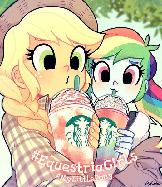 #1426629 - applejack, artist:rikuta, drink, duo, equestria girls, rainbow dash, safe, selfie, starbucks, unicorn frappuccino - Derpibooru - My Little Pony: Friendship is Magic Imageboard