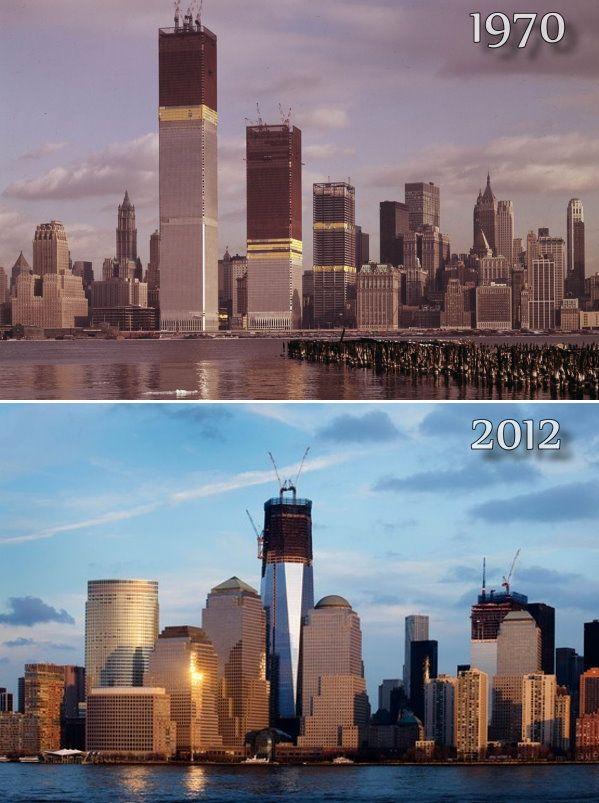 World Trade Center construction - then & now