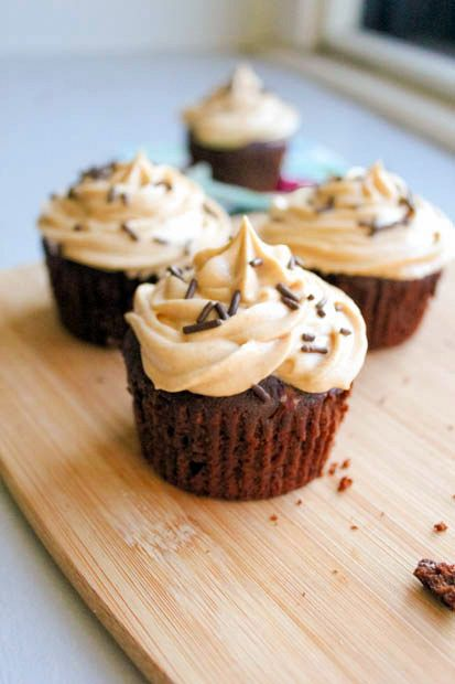 fudge brownie cupcakes with peanut butter frosting - WOW! Awesome and the frosting recipe is generous. Almost too much ...almost