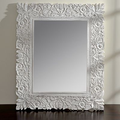 Rectangle white floral mirror wicker emporium dreams for Long wide mirror