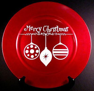 Christmas charger plate: Charger Plates Christmas, Charger Craft, Gift, Christmas Charger Plate Crafts, Christmas Charger Plates Diy, Christmas Chargers Plates, Chargers Plates Christmas, Vinyl Charger, Christmas Plates