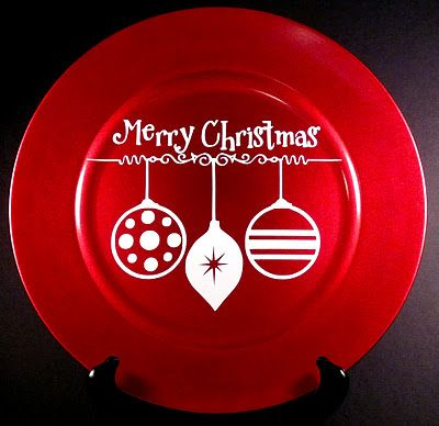 Christmas charger plate: Chargers Plates Diy, Dollar Trees Christmas Plates, Christmas Chargers Plates, Vinyls Chargers, Chargers Plates Christmas, Charger Plates, Decor Chargers Plates, Christmas Decor, Silhouette Christmas Plates