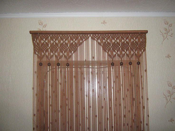 Купить Штора для оформления дверного проема - штора, Макраме, арка, дверной проем, бежевый, шнур