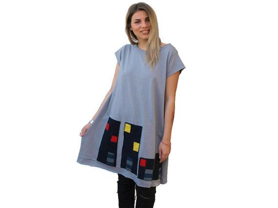Gray loose open back dress / Organic Cotton tunic by PepperFashion