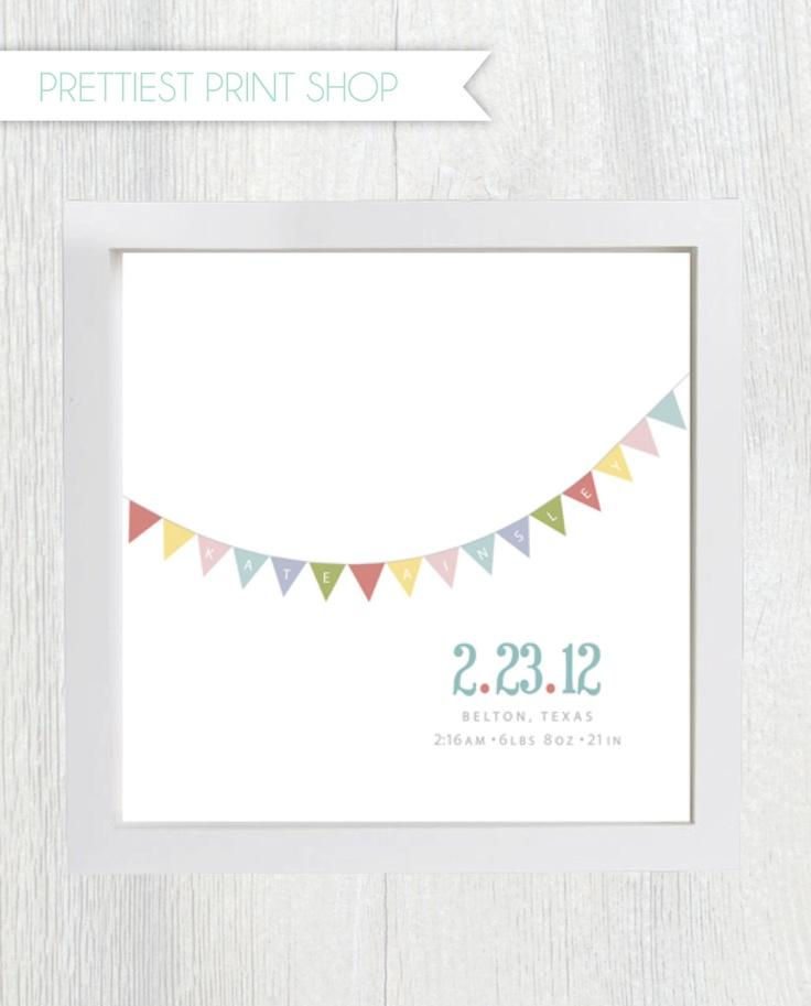 Printable nursery art - Baby Birth Announcement - Wall Art - Customizable. $10.00, via Etsy.